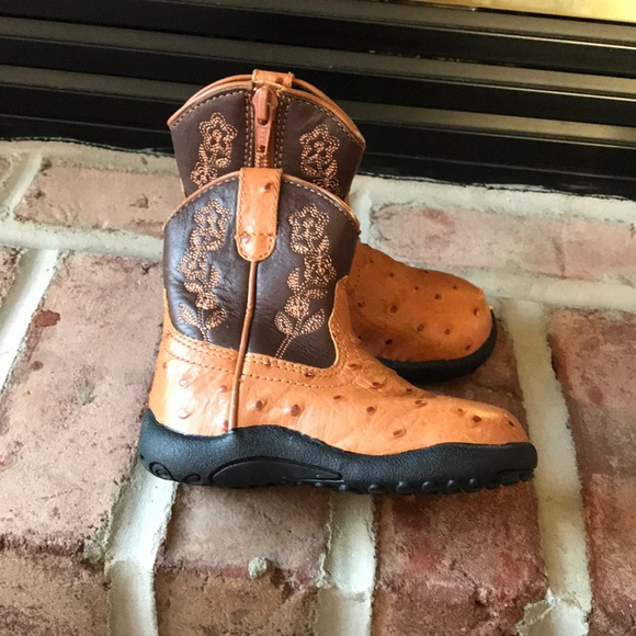 3aa2d55aea8 Toddler girl faux ostrich brown cowboy boots 6T